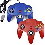 2xClassic N64 Controller,kiwitata Retro Wired Gamepad Controller Joystick for N64 Console Video Games System Red+Blue