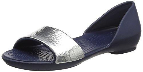 Crocs WoMen Crocslina Embellish Dorsayflat NVY/SIL Ballet Flats Blue (Navy/Silver)