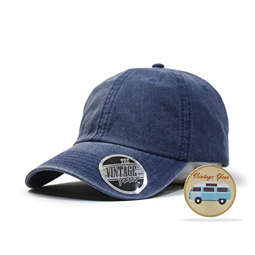 Vintage Washed Cotton Adjustable Baseball Cap + Free Sew/Iron on Camper Patch (Navy B)
