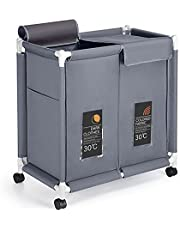 2-Tier Laundry Hamper 110L Large Oxford Clothes Basket Sorter with Rolling Wheels, Lid and Sorting Cards for Clothes & Toys Storage, Grey HG615