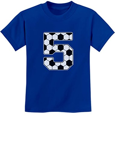 Tstars - Soccer 5th Birthday Gift for 5 Year Old Youth Kids T-Shirt Small Blue