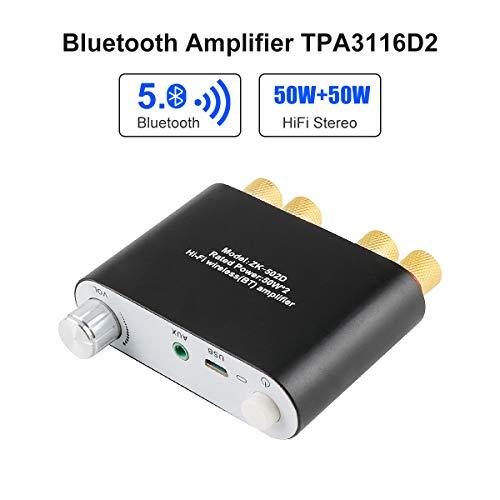 MakerHawk Bluetooth Amplifier Mini HiFi Stereo 2.0 TPA3116D2 2X50W Audio Amplifier Class D Digital Power Amplifier Bluetooth 5.0 Dual Channel AMP with AUX/USB/Bluetooth Input