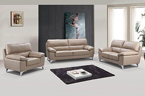 Blackjack Furniture 9436-BEIGE Leather Match, Sofa, Loveseat, Chair, (Sag Sofa Set)