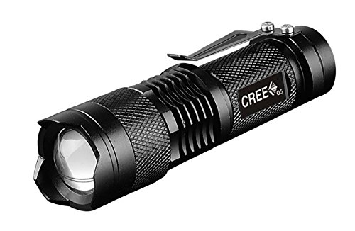 VBS Mini LED Flashlight 2000 Lumens Very Bright for Your Safety Adjustable Zoom with Clip Camping Hiking Walking at Night Car Emergency Mount as Bicycle Headlamp Strobe Flashing to Signal for Help