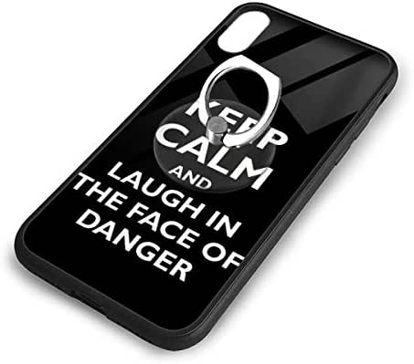 iPhone X Plus Cover Keep Calm Case with Finger Ring Stand XS Phone Kickstand Holder Shock Protective Basic Protector
