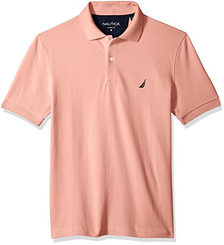 Nautica Men's Classic Short Sleeve Solid Cotton Pique Polo Shirt, Coral Sands XX-Large -