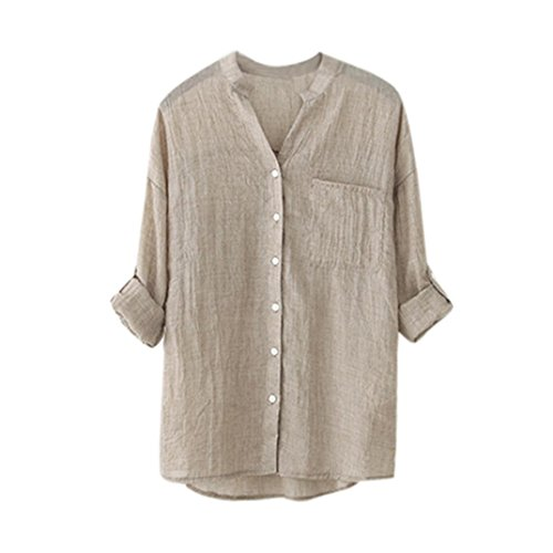 YANG-YI Clearance Women Cotton Solid Long Sleeve Shirt Casual Loose Blouse Button Down Tops (XL, Khaki)
