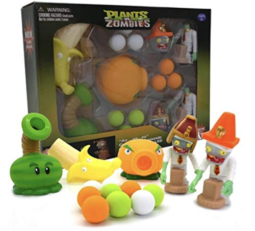 (New Plants vs Zombies Toys Package Set with Lights and Sounds - 3 Plants, 2 Zombies 9 Foam Balls (Option 3))
