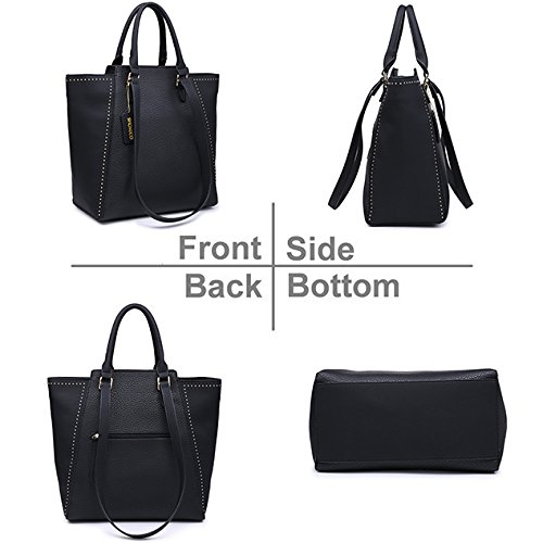 Women Casual Bag Shoulder Black Fashion Leather Handbag Chic Tote Purse Hobo Vegan r8nrU