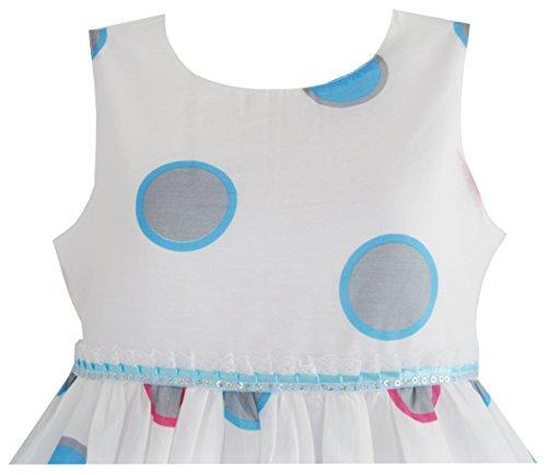 Filles Robe Point Bleu Enfants Partie Rose Taille Sundress Enfants 4-12 Ans Blanc