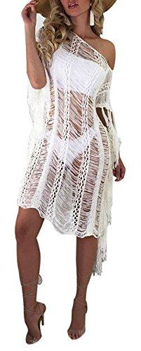 Womens Short Sleeve One Shoulder Mesh See-Through Party Clubwear Dress