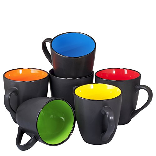 Coffee Mug Set Set of 6 Large-sized 16 Ounce Ceramic Coffee Mugs Restaurant Coffee Mugs By Bruntmor (Black)