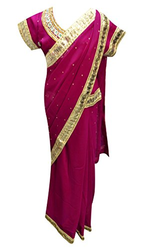 Children Indian Ready made Girls, kids saree for wedding & Bollywood theme costume London UK 1203 (34 (10-11 yrs), Red Violet)
