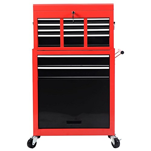 6 Trolley Bottle - 2 PCS Portable Tool Chest Roller Storage Cabinet Tool Box Organizer Rolling Garage Mechanics Craftsman Toolbox Sliding Drawers Cart Steel Material