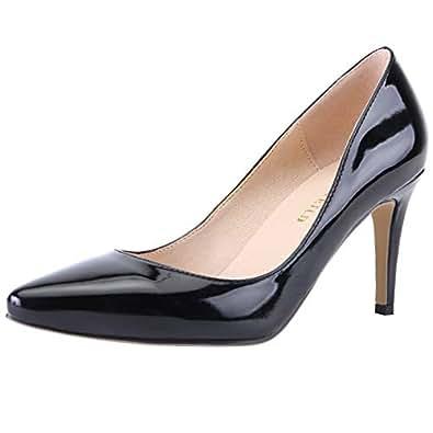 SHOESFEILD Heels for Women, Classic Fashion Pointed Toe High Heel Dress Pump Shoes Black Size: 5-5.5