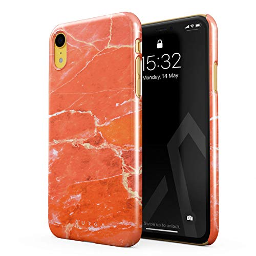 BURGA Phone Case Compatible with iPhone XR Neon Ornage Peach Coral Pattern Marble Stone Summer Vibes Thin Design Durable Hard Plastic Protective Case ()