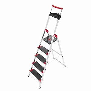 Hailo 8895-001 - Escalera plegable de aluminio (5 escalones, hasta 225 kg)