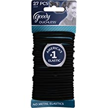 Goody Ouchless Elastic Thick, Black, 27 Count