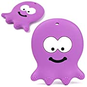 Baby Teething Toys - Adorable Violet Octopus - Best Sensory Learning Teether for Girl Or Boy Infant Newborn 3/6 / 12 Months / 1 Year Old - BPA Free Silicone - Cool Baby Shower and Easter Gifts