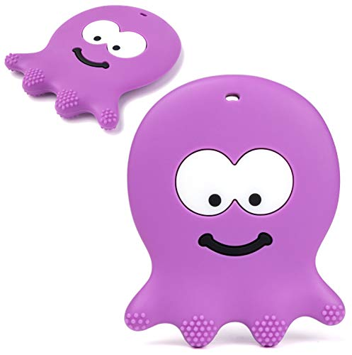 Adorable Violet Octopus - Best Sensory Learning Teether for Girl Or Boy Infant Newborn 3/6 / 12 Months / 1 Year Old - BPA Free Silicone - Cool Baby Shower and Easter Gifts ()