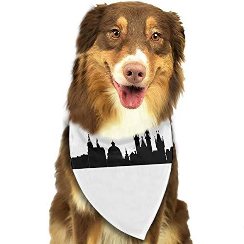 Pet Scarf Dog Bandana Bibs Triangle Head Scarfs Prague City Skylines Accessories for Cats Baby Puppy -
