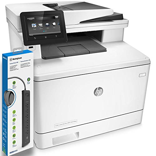HP Color Laserjet Pro M477fdw All-in-One Laser Printer (CF379A) with Power Strip Surge Protector
