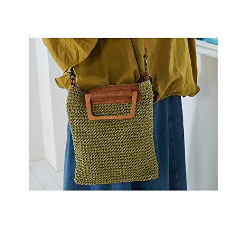 la crochet en blanc en main au poignées tricotés bois Sac femmes pour curcuma lin à à faites cuir coton main et Zhaohuifang avec pxORwBp