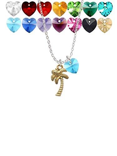 Goldtone Palm Tree Custom Crystal Heart Sophia Necklace, 18