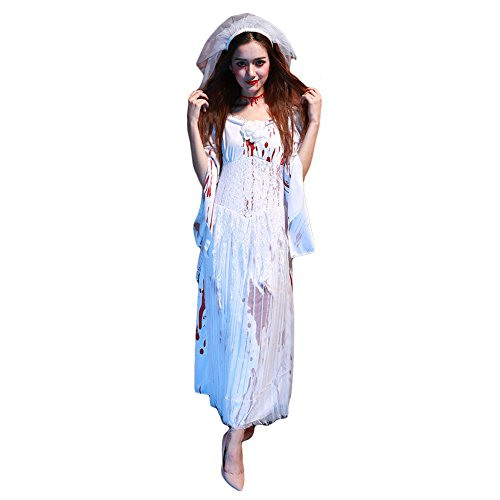 Women's Zombie Ghost Bride Costume Horror Bloody Zombie Corpse Halloween Costume Dress (Zombie Halloween Outfit)