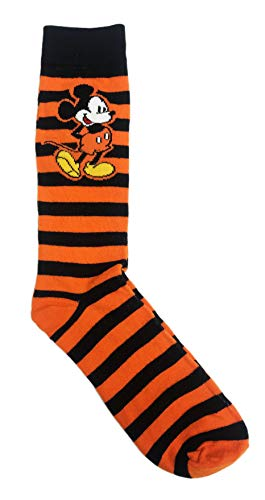 Orange & Black Striped Crew Sock Featuring Disney Character Mickey Mouse Men's Halloween Novelty Crew Sock - Mickey Black Socks