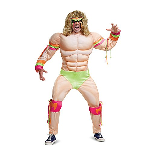 Disguise Men's Ultimate Warrior Muscle Adult Costume, Multi, L/XL (42-46) -