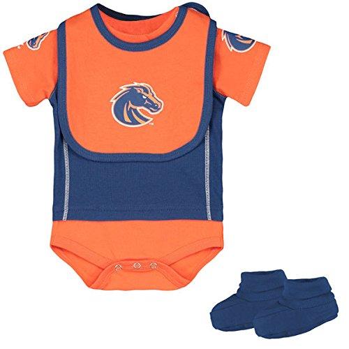 Boise State Broncos Infant Jersey Bodysuit, Bib & Bootie Set-Royal (3-6 Months)