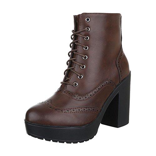 Ital-Design Schnürboots Damen Schuhe Combat Boots Blockabsatz Leicht Gefüttert Reißverschluss Stiefeletten Braun
