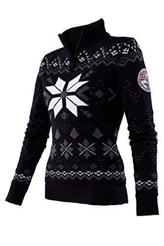 Nebulus Norweger Pullover NORSKA, Windbreaker, Damen, schwarz, warm (Q663)