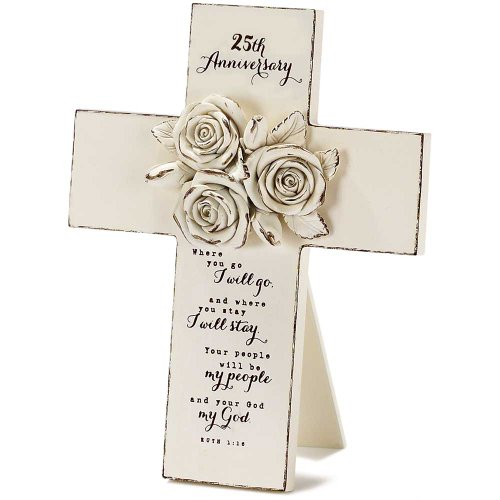 25th Anniversary Resin Stone 7 inch Table Top Cross with Easel ()