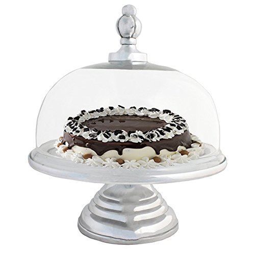 Urban Designs Domed Glass Cake Pedestal Plate With Aluminum Base (Dublin Crystal Punch Bowl compare prices)