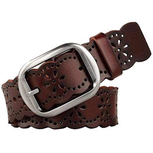 JASGOOD Women's Hollow Flower Genuine Cowhide Leather Belt With Alloy Buckle needs dark brown and a size Waist Size 26-30 Inch (Belts Women Jeans For)