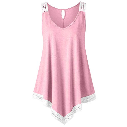 5.11 Nylon Tactical Vest (Sunhusing Womens Solid Color Round Neck Irregular Lace Stitching Top V-Neck Back Hollow Vest Pink)