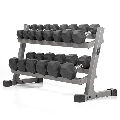 An Exceptional Package - XMark's Two Tier Heavy Duty Steel Dumbbell Rack With Angled Shelves Fully Loaded With 380 lbs....