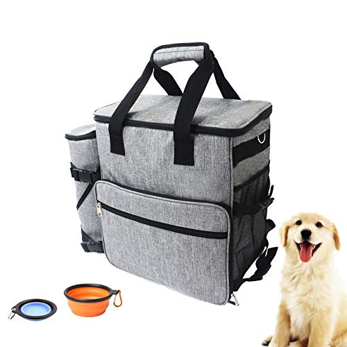 Petopia Pet Travel Organizer Bag – Waterproof, Airline Approved Backpack with Compact Food Storage Carrier – 2 Collapsible Silicone Water Bowls – Dog and Cat Trip Accessories and Essentials Holder