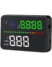 "wiiyii A3 HUD GPS Hud Head Up Display with OBD1 OBD2 Interface OverSpeed Warning Plug & Play Vehicle Speed, Engine Speed, Water Temperature 3.5"" Car Head Up Display"