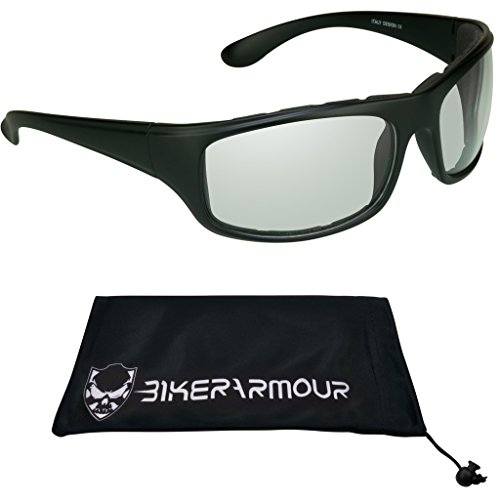 Transition Motorcycle Glasses with Photochromic CLEAR to SMOKE Lens