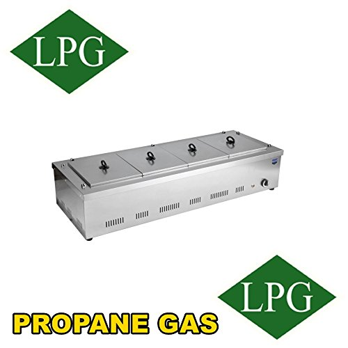 - Professional Propane Gas 4 Compartment Commercial Industrial Bain-Marie Buffet Food, Sause Tabletop Desktop Countertop Warmer Steamer Steam Table 4 Pot Included and 4 LID Included, Full Set