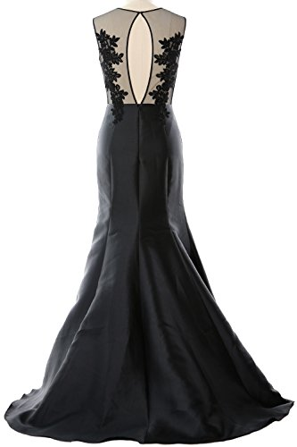 Formal MACloth Lace Illusion Gown Party Dress Satin Straps Mermaid Women Schwarz Evening wZqTw8r