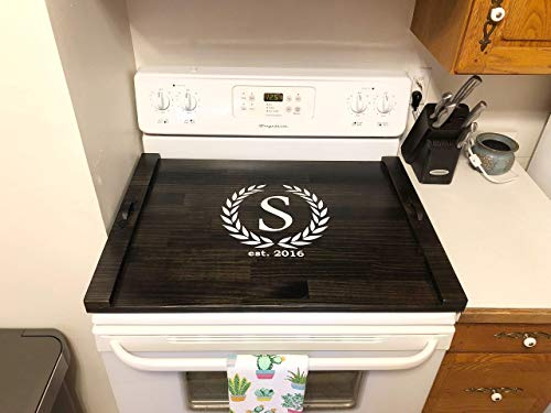 Rustic Stove Top Cover, Wooden Tray For Stove, Monogram Stove Cover, Stove Tray, Decorative Tray by The Appalachian Artisans (Image #1)