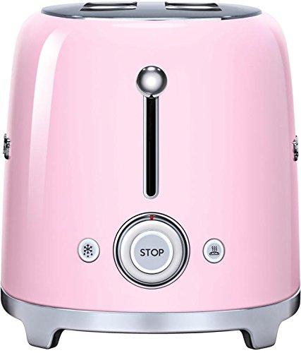 Smeg TSF02PKUS 50's Retro Style Aesthetic 4 Slice Toaster, Pink