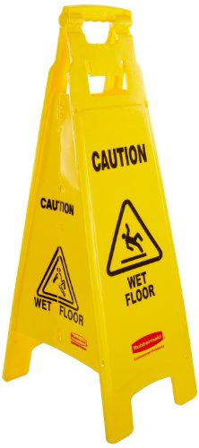 Rubbermaid Commercial Caution Wet Floor Safety Sign, Multi-Lingual, 4 Sided, Yellow, FG611477YEL