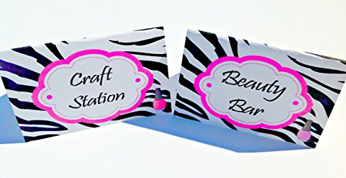 12 - Food Tents - Spa Happy Birthday Collection - Zebra Backgrounds & Hot Pink, Black and White Accents - Party Packs (Zebra Spa Party Supplies)