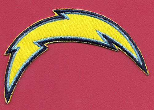 Embroidery Patch New L.A.Chargers 'Yellow' Bolt Iron on, 2 1/2 X 4
