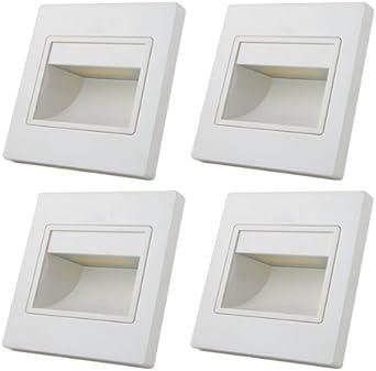 Iluminación led 4 focos Mengs® 1 W, para pared y escaleras, lámpara y bombilla LED (